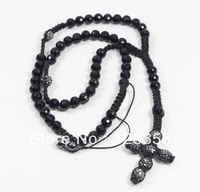 Min.order $10 Mix order Mens Ladies Shamballa Rosary Necklace Cross Mine black Crystal Beads Free Shipping