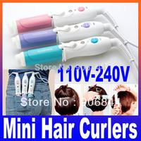 Mini hair roller clip bangs curler sticks hair curling iron sticks pear ceramic pink Blue purple 110v-240v  Free Shipping