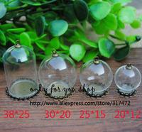 20set/lot Mix Size  Glass Cover Dome Vial & Base Blank &Connector Cap DIY Glass Bottle/Vials Pendant Antique Bronze Set