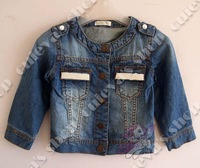 5pcs/lot (3-7T) 2013 New Sping Autumn Baby Girls Denim Coat Kids Pearl Pocket Jacket Brand Clothing Free Shipping