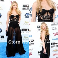 Jennifer Morrison Gorgeous See Through A-line Chiffon Black Celebrity Evening Dresses At Billboard Music Awards 2013 Red Carpet
