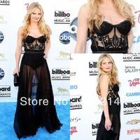 Jennifer Morrison Gorgeous See Through A-line Chiffon Black Celebrity Evening Dresses At Billboard Music Awards 2013 Red Carpet