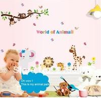 Hot Sale  Animal World monkey tree Kids Nursery Wall Sticker Decals Baby room Decor