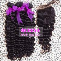 Malaysian virgin hair deep curl 1 piece lace closure with 3pcs hair bundles human hair extension 100% unprocessed hair,Grade 5A