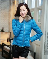 Hot sale!Elegant fur hooded solid zipper women down coat,Slim PU back ruffles patchwork outerwear,women parka,Blue/White/Yellow