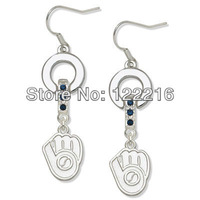 Free shipping 20pair a lot  rhodium plated  Milwaukee Brewers Charm Earrings with blue  crystal sports jewelry