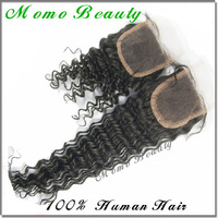 Top Quality Part Closure Brazilian Virgin Hair Deep Wave Bleached Knots Lace Closure Front Hair Pieces Curly Style