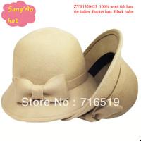 wholesale camel Fashion women wool bowler hats100% wool or felt hat  wear in Winter ,fall ,spring ,wedding ,topee hat.festival