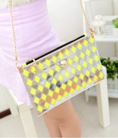 free shipping free shipping 2013 personality chain skull plaid bag