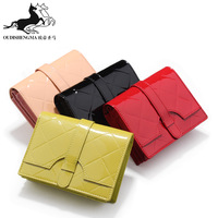 genuine cow leather short wallet for women patent leather small bags clutch cowhide purse free shipping