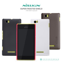 Nillkin Super Frosted Shield Case for Sony Xperia M Quality Brand Hard Cover with Screen Protector 20pcs/lot