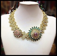 2014 Women Gift New Chunky Chain Collar Z Brand Statement Flower Design choker Necklace for Women 2013 Christmas present N00508