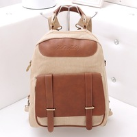 Female canvas backpack preppy style fashion canvas backpack vertical female casual backpack messenger bag