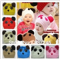 NEW Panda shaped Lovely Boy girl Hats caps Cotton winter baby Knitted hat, children Keep warm hat 8 color christmas gift