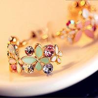 Cute Sweety Lady Girl Czech Butterfly Loving Flower Earring Stud zl