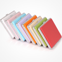 8 colors- men Double stainless steel cigarette case  multi color leather cigarette box professional smoking set