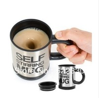 Free shippping Automatic coffee mixing cup/mug bluw stainless steel self stirring electic coffee mug 350ml 2Pcs/lot
