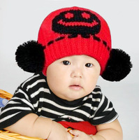 free shipping lovely baby warm hat double ball cap smiley baby hat child hat knitted hat