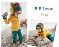 free shipping Autumn and winter baby hat striped knitted hat male female child winter hat child warm hat