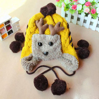 free shipping Child thermal fleece ear yarn cartoon staghorns knitted hat thermal plus velvet thickening