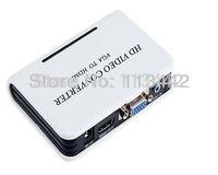 2014  high quality newest style Laptop PC VGA Audio to HDMI HDTV 1080p AV Mini Converter Box  hot sale New arrival