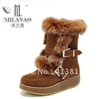 Fashion women genuine leather knee-high wedges platform snow boots,rabbit fur platform cow muscle outsole casual boots