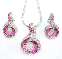 gourd white gold Plated Jewelry Necklace Earring Set Made with Austrian Crystals wholesale free shipping