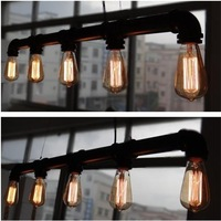 Silk light bulb vintage water pipe pendant light american style bar table lamps