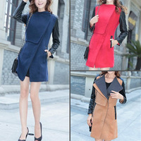 New Women Woolen Cloth Warm Fit Big Lapel Fashion Long Outwear Coat Jacket 3082
