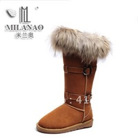 Free shipping!New designer 2012 women genuine leather nubuck leather snow boots,fashion female long fox fur boots