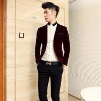 Dsshb fashion trend of the male slim quality black velvet suit casual blazer