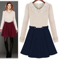 Fashion autumn and winter 2013 New Women's Popular peter pan collar long-sleeve dress Lady Fashion dresses