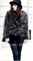 FREE SHIPPING Peacock haoduoyi three-color wool fur coat fur long-sleeve