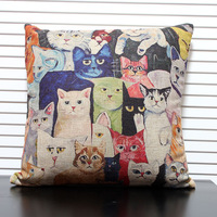 Cat 2 fluid japanese style cartoon pillow colored drawing cushion car cushion
