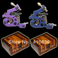 complete - 2 Top Handmade Tattoo Machine Gun Kit Shader+ Liner + two wood boxes  A002