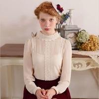 Blouses For Women 2013 Autumn Chiffon Shirts With Lace Embroidery Stand Collar Beige  M Plus Size