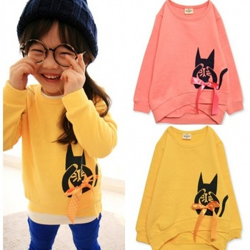 In stock! children's long sleeves girl's pullover sweatshirts kitty kid's t shirt hoody factory price 5pcs/lot free shipping