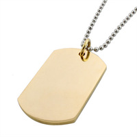 18K gold dog tag  stainless steel pendant  necklace