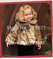 2014  Children's leopard  winter coat fashion coat,fur coat ,childrenclothing,free shipping
