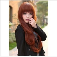 Cheap but good Wig fluffy qi bangs medium-long Wine red long kinkiness jumbo wig  free shipping