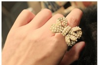 Min order $15.0(can mix order )Free shipping Han edition hipster bowknot pearl ring restoring ancient ways is female
