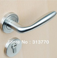 85mm Free shipping  2pcs handles with lock body+keys 304 stainless steel door handle room mortise lock interior door lock