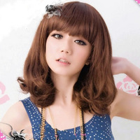 New style Girls qi non-mainstream fluffy bangs short medium-long pear wig kinkiness  free shipping