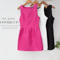2013 autumn women's embossed ladies flower o-neck sleeveless slim one-piece dress ai233, free shipping