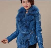 2014 new winter ladies sheepskin genuine leather jacket real large fox fur collar  short slim down coat TP4