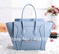 blue smooth original leather bag mini nano Micro 3307 3308 3309 smile fashion women design handbag top quality free shipping