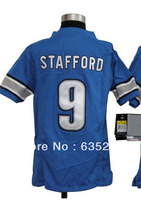 Drop Shipping American Football Youth Jerseys #9 Matt Stafford Light Blue White Kids/Boys Jersey Embroidery Sewing logos S-XL