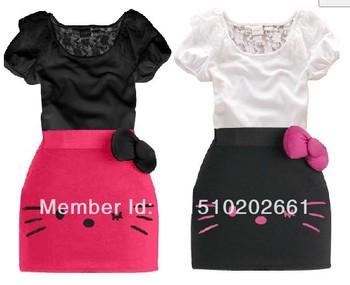SH245 Retail children's cute design summer clothing kids t shirt top+ hello kitty girls 2pcs set hello kitty dress Free shipping
