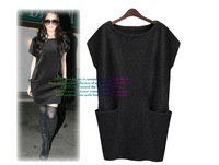 2013 Europe Fashion Women's Autumn Loose Knit Sweater Cusual Mini Sexy Dress with big Pockets
