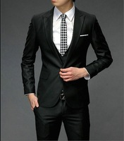 Men's clothing fashion korean slim casual suit set wedding dress suit  male groom wear suit